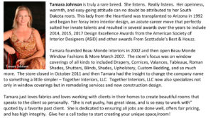 Tamara johnson bio for Scottsdale Custom Drapery